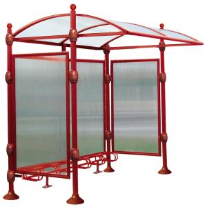 Überdachungssystem -Bowl-, einseitig, inkl. Fahrradständer mit 6 Einstellplätzen (Farbe: RAL 3004 purpurrot (Art.Nr.: 22608-01))