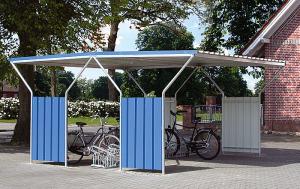 Überdachungssystem -Hades-, doppelseitig (Einheit/Farbe Seitenwände (außen): Grundeinheit/RAL 5010 enzianblau (Art.Nr.: 11142))