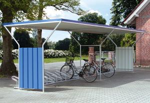 Überdachungssystem -Hades-, einseitig (Einheit/Farbe Seitenwände (außen): Grundeinheit/RAL 5010 enzianblau (Art.Nr.: 11136))