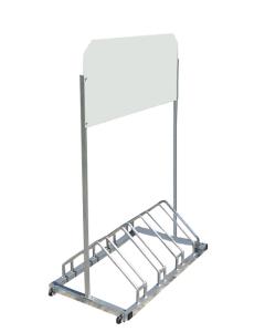 Werbe-Fahrradständer -Antwerpen-, für 4 Räder, mit Laufrollen (Druckarten: ohne Digitaldruck (Art.Nr.: 10899))