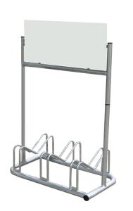 Werbe-Fahrradständer -Danzig-, zweiseitig, für 3 Räder, mobil (Schild-Form/Höhe/Länge/Schildmaße (HxB):  <b>Rechteck</b>/1310mm/810mm<br>300x710mm/ohne Digitaldruck (Art.Nr.: 10912))