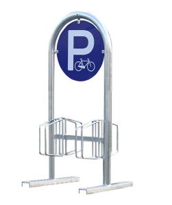 Werbe-Fahrradständer -Salzburg-, zweiseitig, mobil oder zum Aufschrauben (Druckarten: mit zweiseitigem Standard-Aufdruck<br>(P-Fahrrad) (Art.Nr.: 10910))