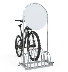 Werbe-Fahrradständer Typ RW 5000 mit Laufrollen (Stellplätze/Druck: 4er / ohne Digitaldruck (Art.Nr.: rw5454-01))