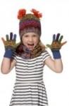 Kinder Finger Handschuhe AQUARELL für Mädchen und Jungen 4-6 Jahre