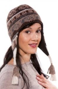 Inka-Mütze ISLA gestrickt herbstliche Farben Chullo mit Ohrenklappen Damen (Größe: L)