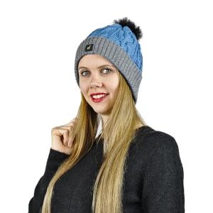 Damen Mütze Andrea 100% Baby Alpaka mit Bommel und Zopfmuster One Size für Kopfgrößen S-XL (Farbe: Blaugrau)