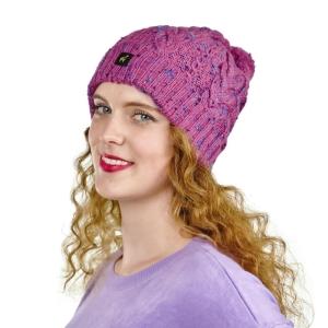 Alpaka Mütze Marie für Damen mit Bommel und Ripp Muster One Size für Kopfgrößen XS-XL (Farbe: Blau-meliert)