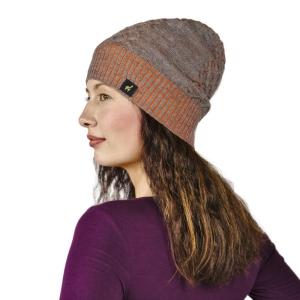 Mütze Clara aus 100% Baby Alpaka für Damen One Size für Kopfgrößen S-XL (Farbe: Sand)