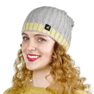 Mütze Linda mit Baby Alpaka und Kaschmir für Damen One Size für Kopfgrößen S-XL (Farbe: Silber)