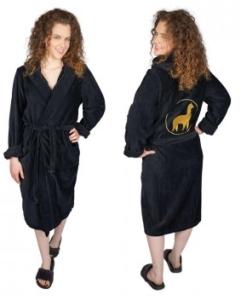 Bademantel Daytona Damen bestickt 100% Baumwolle (Farbe: XL Schwarz)