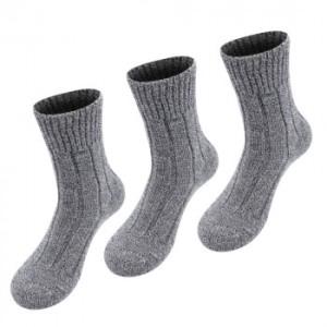 3er Pack Alpaka Winter Socken für Damen und Herren (Farbe: Meliert 42-44)