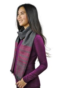 100% Baby Alpaka Schal Carmen One Size purer Luxus für Damen (Farbe: Rotgrau)