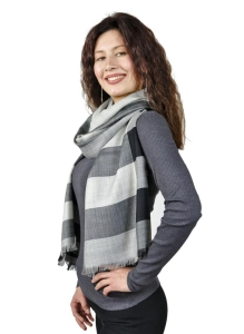 Alpaka Schal One Size Felizia Premium Baby Alpaka für Damen (Farbe: Grau-schwarz)