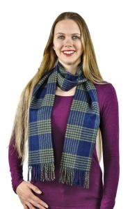 Damen und Herren Schal York Uni 100% Baby Alpaka One Size kariert (Farbe: Blaugrün)