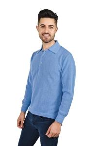 Pullover Renzo Polo Langarm 100% Baby Alpaka für Herren (Größe/Farbe: M/Azurblau)
