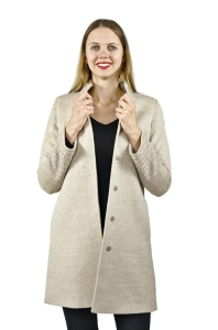 Luxury Alpaka Mantel Jenny mit schönen Druckknöpfen für Damen (Größe/Farbe: S/Beige)