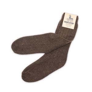 Alpaka Socken dünn in dunkelbraun, 92% Alpakawolle (Größe: Größe 43 - 46)
