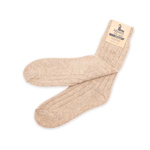 Alpaka Socken dünn in hellbraun, 92% Alpakawolle (Größe: Größe 43 - 46)