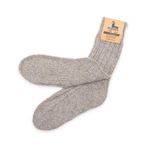 Alpaka Socken dick in hellgrau, 40% Alpakawolle (Größe: Größe 43 - 46)
