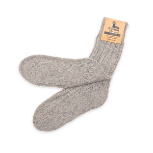 Alpaka Socken dick in hellgrau, 92% Alpakawolle (Größe: Größe 43 - 46)