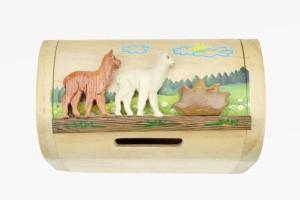 Holz Schatztruhe Alpakas