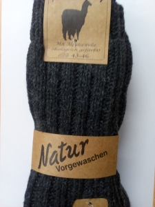 Alpaka Socken 2er Dick (Farbe: 35-38 dunkelgrau/hellgrau)