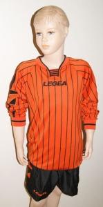 14 x Legea-Trikot-Sets -Budapest schwarz  / orange S (Größe: 14 x S - fällt 1 Nr. kleiner aus)