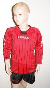 14 x Legea-Trikot-Sets -Budapest schwarz / rot (Größe: 14 x 2XS - fällt 1 Nr. kleiner aus  3XS)