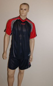 14 Royal-Trikot-Sets (Trikots+Hosen) - GREED - blau / rot (Größe: 14 x XL)
