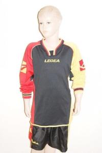 14 x Legea-Trikot-Sets - ANVERSA , schwarz-rot -gelb (Größe: 14 x 2XS - fällt 1 Nr. kleiner aus  3XS)