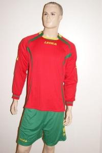 14 Legea-Fußball-Trikot-Sets - AVIGNONE- rot / grün (Größe: 14 x 2XS)