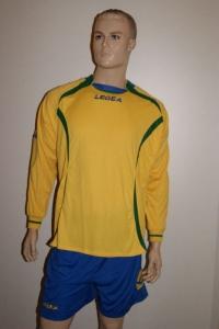 14 Legea-Fußball-Trikot-Sets - AVIGNONE- gelb / azur (Größe: 14 Trikot-Sets in 2XS)