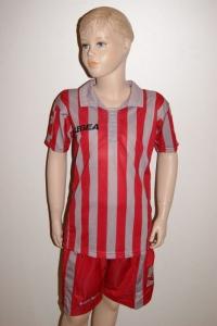 14 Legea-Fußball-Trikot-Sets - BROADWAY  grau /rot (Größe: 14 x in 2XS)
