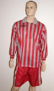 14 Legea-Fußball-Trikot-Sets - MANHATTAN grau /rot (Größe: 14 x M)