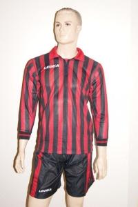 12 Legea-Fußball-Trikot-Sets - MANHATTAN  rot / schwarz (Größe: 11 x in M)