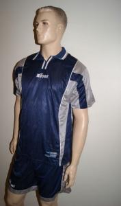 14 Fußball-Trikot-Sets - PREMIER -von ROYAL  blau / grau (Größe: 11 x L + 3 x XL)