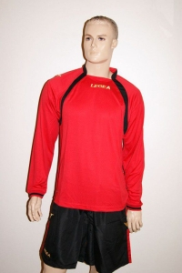 14 Legea-Fußball-Trikot-Sets- Dover rot / schwarz (Größe: 14 x XXL)