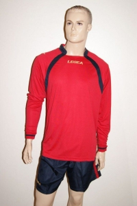 14 Legea-Fußball-Trikot-Sets- Dover rot/blau (Größe: 14 x in S)
