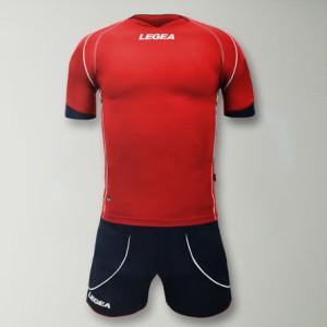 Legea-Trikot-Set - Parigi - Fußball Trikot u. Hose rot/blau (Größe: XL)