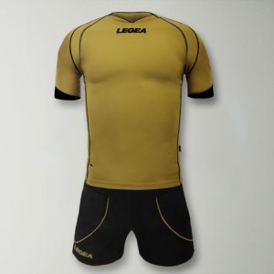Legea-Trikot-Kit  - Parigi - Fußball  Trikot u. Hose gold / schwarz (Größe: XL)