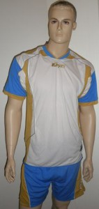 14 Royal-Trikot-Sets - Active - Fußball - Sets   weiß / royal /gold (Größe: 10 x XL   +  4 x L)
