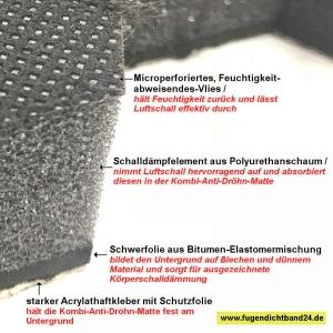 Kombi-Anti-Dröhn-Matte   Vlies-Polyuretanschaum-Bitumen-Schicht  - selbstklebend - 44cm x 24cm