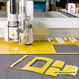Zuschnitt Flachdichtung EPDM Zellkautschuk einseitig selbstklebend - PDF Upload (Stärke der Flachdichtung: 10mm einseitig selbstklebend)