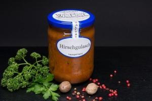 Hirschgulasch im Glas 500g (1 Glas / Versandgewicht ca. 830g: Inhalt ca. 500g)
