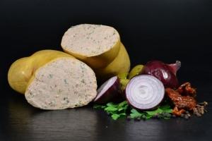 Truthan Geflügel-Leberwurst geräuchert mit Schnittlauch (Gewicht frische Truthan Geflügel Leberwurst: 250g Geflügel Leberwurst)
