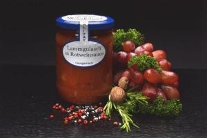 Lammgulasch in Rotweinsoße im Glas 500g (1 Glas / Versandgewicht ca. 830g: Inhalt ca. 500g)