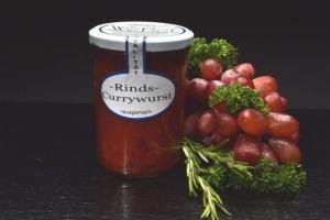 Rinds-Currywurst  im Glas 400g (1 Glas / Versandgewicht ca. 650g: Inhalt ca. 400g)