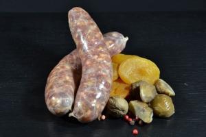 Wildschweinbratwurst mit Aprikose und Maronen - hausgemacht (Gewicht: 30 Stück a 40g)