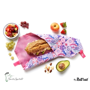 Roll′eat nachhaltige Pausenbrot-Verpackung - Patchwork-lila