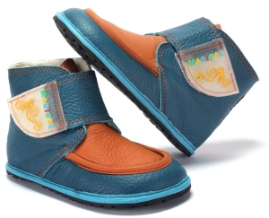 Winter Kinder Barfußschuhe Magical Shoes Ziu Ziu blau-orange (Größe: 26 17,3 cm Innenlänge 7,4 cm Innenbreite)